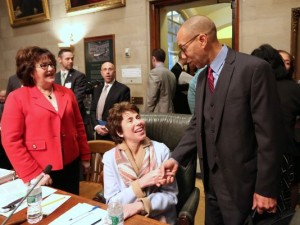 Dennis Walcott, right, greets New York State Board of Regents Chancellor Merryl Tisch, cener, and New York State Education Commissioner MaryEllen Elia before a Dec. 14 Regents meeting in Albany. JOURNAL NEWS FILE PHOTO
